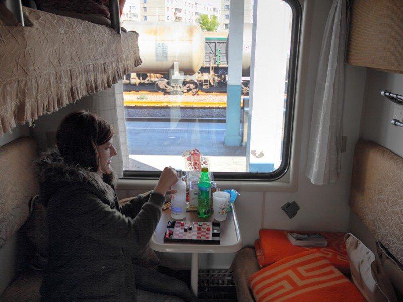 En el interior del tren